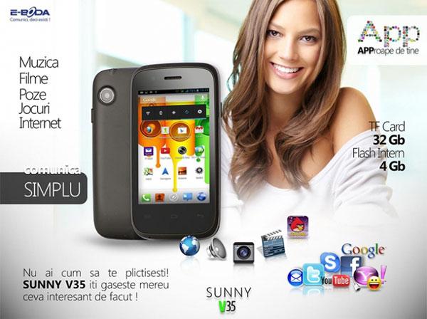 Sunny V35 - Un telefon cu Android ieftin şi bun, de la E-Boda